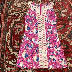 violet magenta berry print shift lace dress